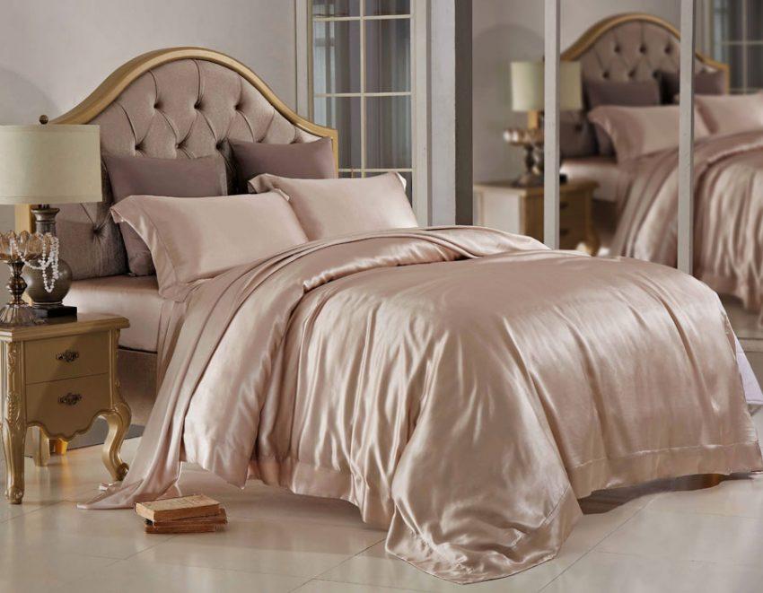 Шелковое постельное бельё Sharm  Цвет: шампань