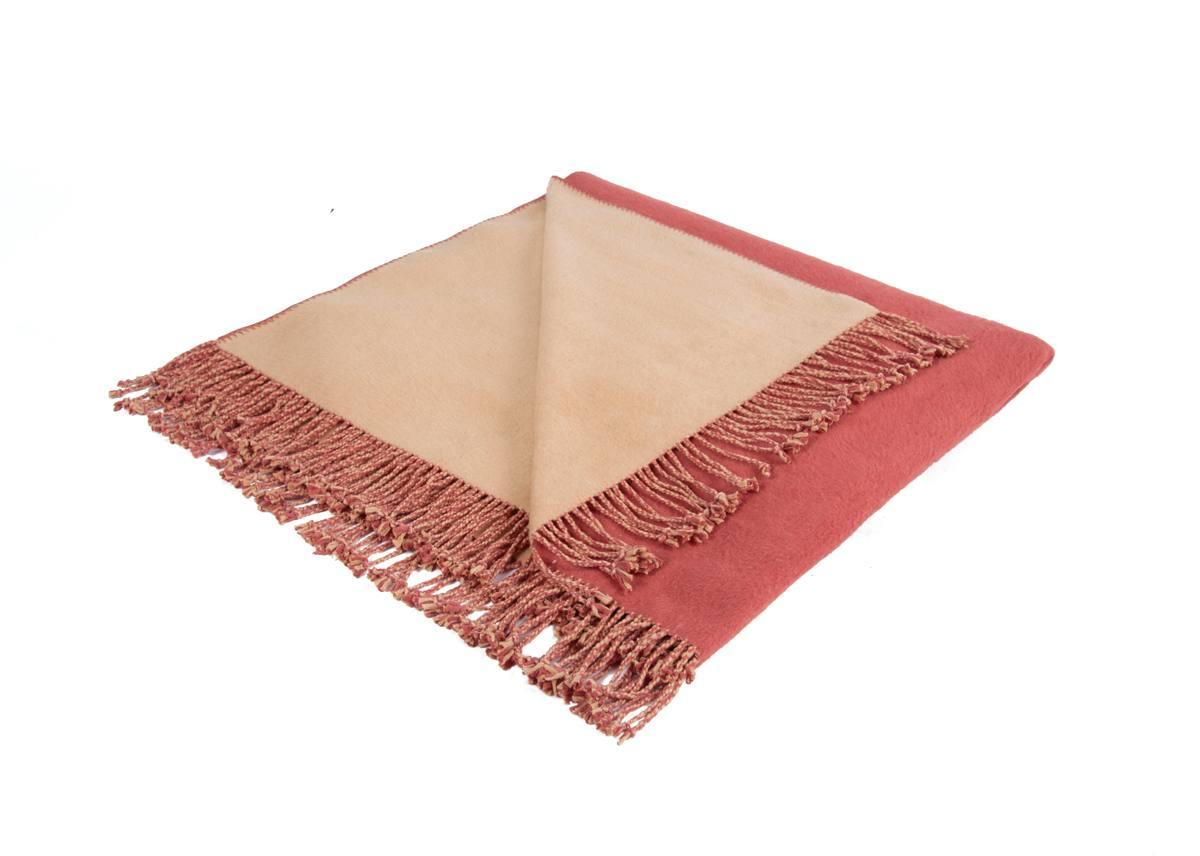 Шелковый плед Riva. Цвет:коралловый/песочный