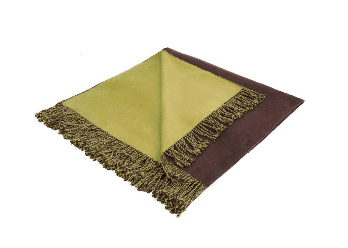 Шелковый плед Riva. Цвет: оливковый/коричневый