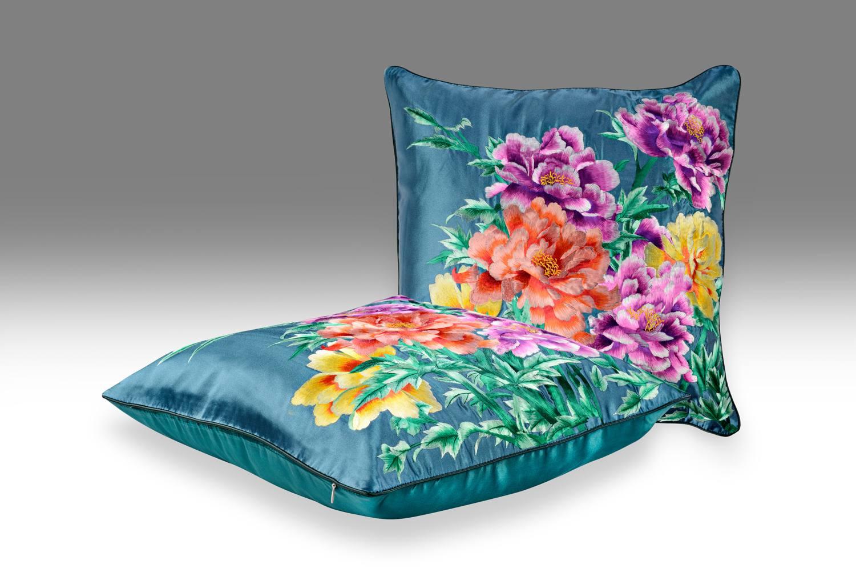 Декоративная подушка Зеленые георгины