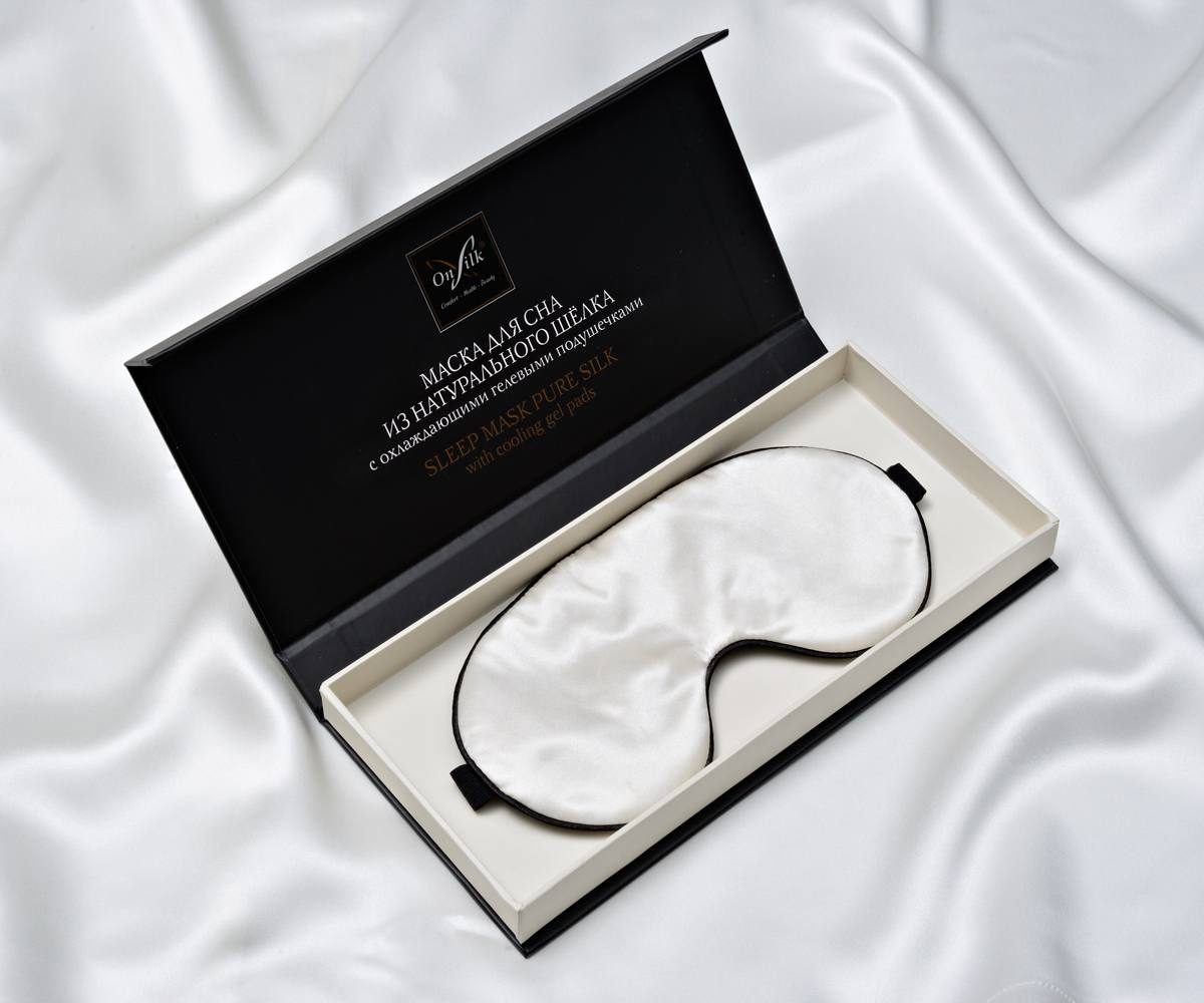 Шелковая маска для сна. Цвет: слоновая кость